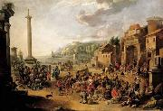 GRAFF, Anton A market in an Italianate harbour with Diogenes in search of an honest man oil painting artist